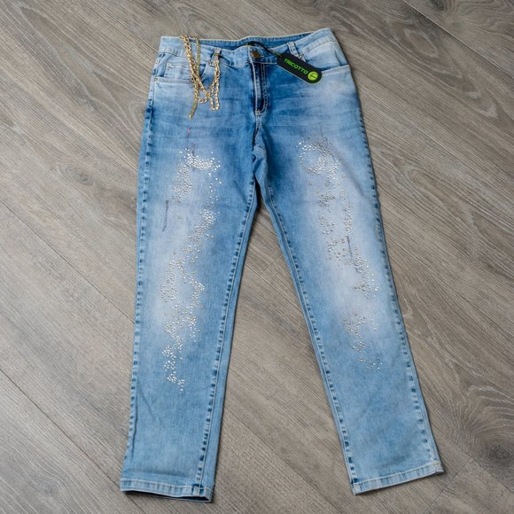 NWT Tricotto jeweled jeans - 12